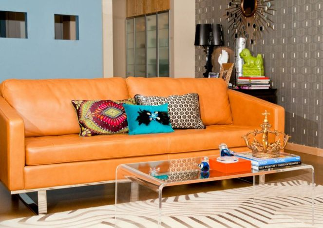 Orange-leather-sofa