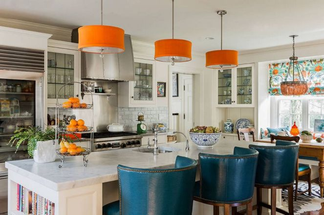 Orange-pendant-lamps-over-the-kitchen-island