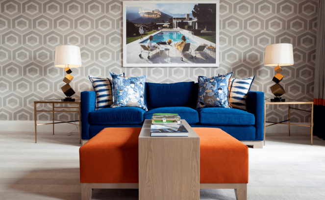 Wall-patterns-with-bold-furniture-orange-and-blue