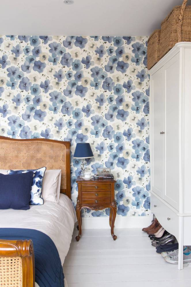 Master-bedroom-blue-painted-floral-wallpaper