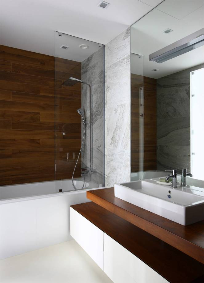 Contemporary-bathroom-wood-marble