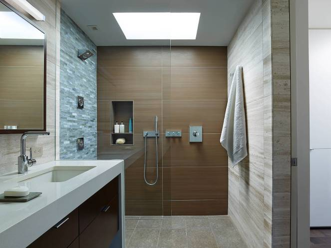 Contemporary-wood-tile-shower-wall