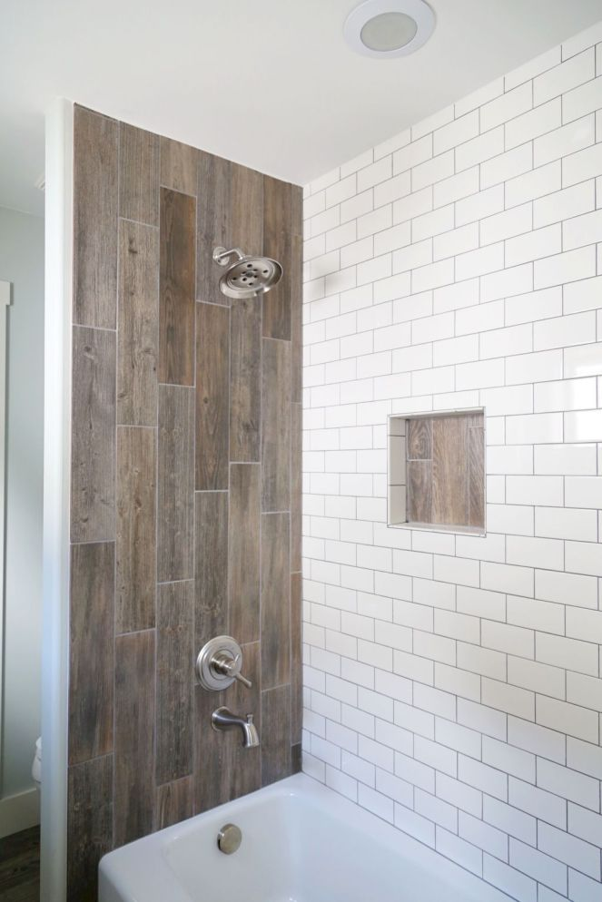 Farmhouse-shower-wood-tile-accent