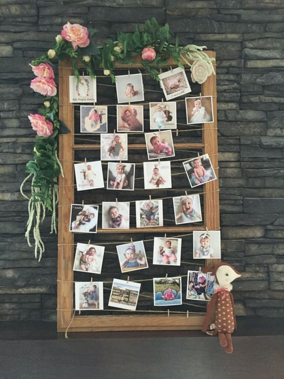 Photo-display-for-a-magical-woodland-themed-birthday-party